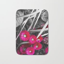 Pink Petals Amongst Black And White Leaves Bath Mat