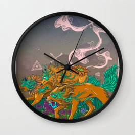WOLF and FLOWER Wall Clock