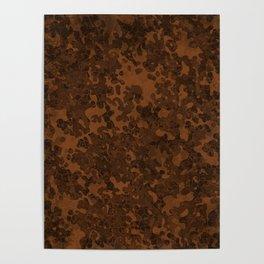 Chocolate Brown Hybrid Camo Pattern Poster