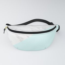 White Marble with Pastel Blue and Grey Fanny Pack