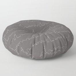 New York Skyline // Charcoal Grey Floor Pillow