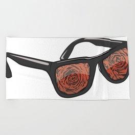 Rose Colored Glasses  Beach Towel