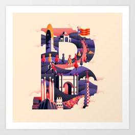Wanderlust Alphabet – B is for Barcelona Art Print