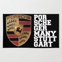 font Area & Throw Rugs featuring Porsche FONT by kartalpaf