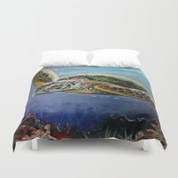 sea turtle Duvet Covers featuring Sea Turtle by Adamzworld