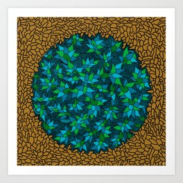- blue flore in cosmogold - Art Print