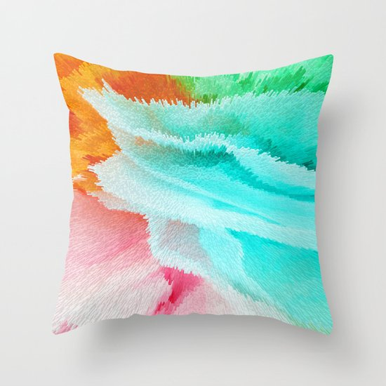 Blue Green Orange Throw Pillows : pink orange green and blue Throw Pillow by Lara Gurney Society6