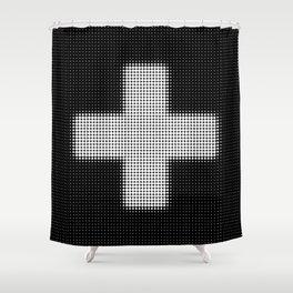 Halftone Plus Black Shower Curtain
