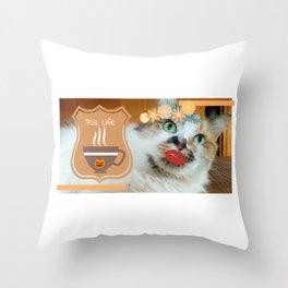 PSL Life Cat Basic Pumpkin Spice Latte Kitty Throw Pillow