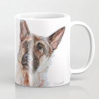 german shepherd Mugs featuring German Shepherd by N.Romano