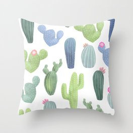 watercolor cacti plants pattern Throw Pillow