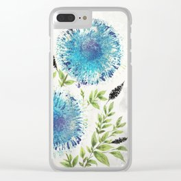 Dandelions Blue Clear iPhone Case