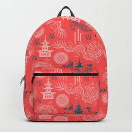 Coral Chinoiserie Backpack
