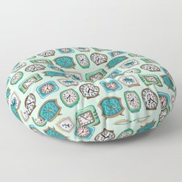 Vintage Alarm Clocks In Mint Green & Turquoise Floor Pillow