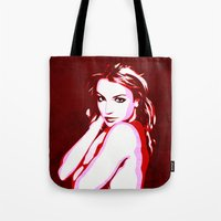 britney spears Tote Bags featuring Britney Spears - Pop Art by William Cuccio aka WCSmack
