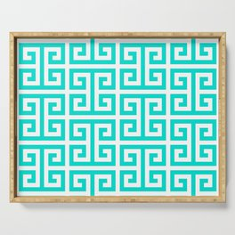 Tropical Turquoise and White Greek Key Pattern Serving Tray