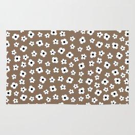Coffee Brown White Flower Pattern Rug