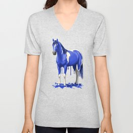 Royal Blue Dripping Paint Horse Unisex V-Neck