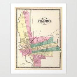 Map of Columbus 1872 Art Print