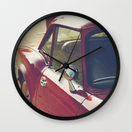 Sportscar, supercar, windscreen details, red triumph spitfire, english car Wall Clock