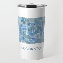 Colorado Counties BluePrint Watercolor Map Travel Mug