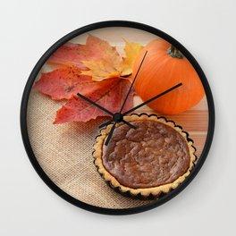 Thanksgiving gourd and pumpkin pie Wall Clock