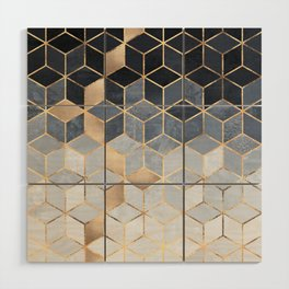 Soft Blue Gradient Cubes Wood Wall Art