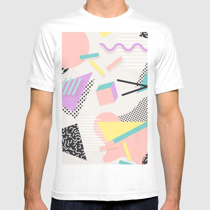 80s / 90s RETRO ABSTRACT PASTEL SHAPE PATTERN T-shirt