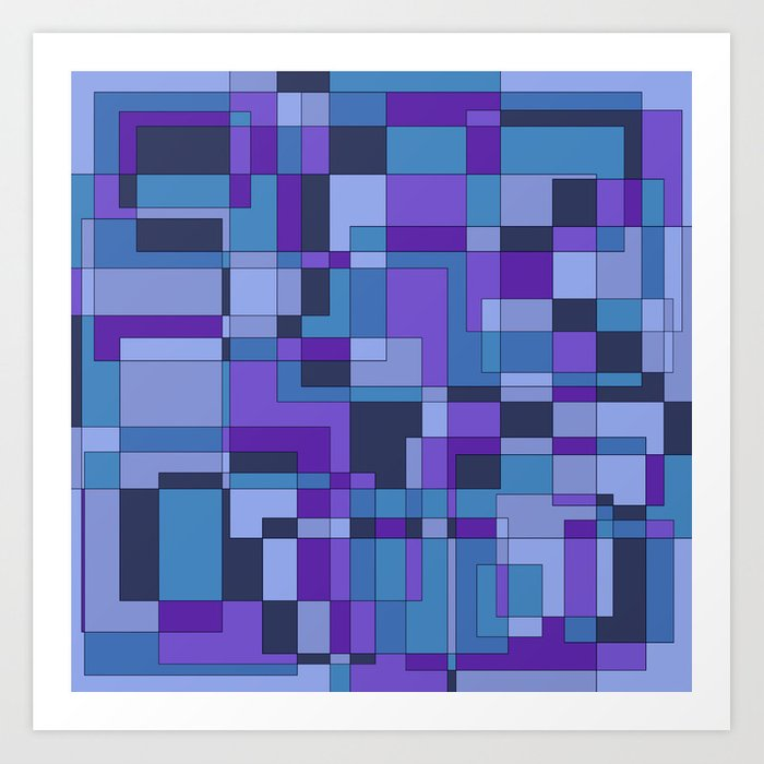 Abstract Geometric Shapes In Cool Color Hues Art Print By Cesarpadilla