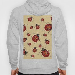 ABSTRACT RED LADY BUGS ON CREAM COLOR DESIGN ART Hoody