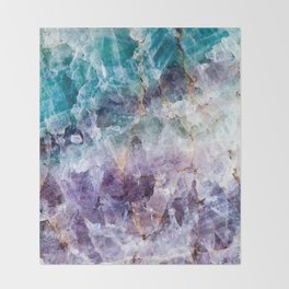 Turquoise & Purple Quartz Crystal Throw Blanket