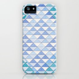 Triangle Pattern No. 9 Shifting Blue and Turquoise iPhone Case