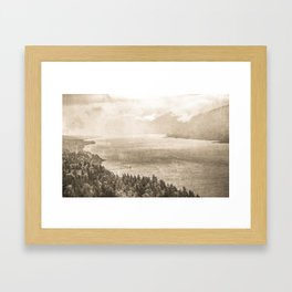 Sepia Vintage River Forest - Columbia River Gorge Framed Art Print