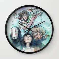 Spirited Away Watercolor Painting Wall Clock