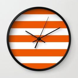 Persimmon - solid color - white stripes pattern Wall Clock