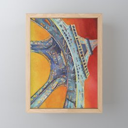 Fine art watercolor painting of portion of the Eiffel Tower at sunset- Paris, France Framed Mini Art Print