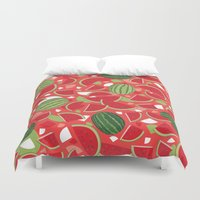 watermelon Duvet Covers featuring Watermelon by Ornaart