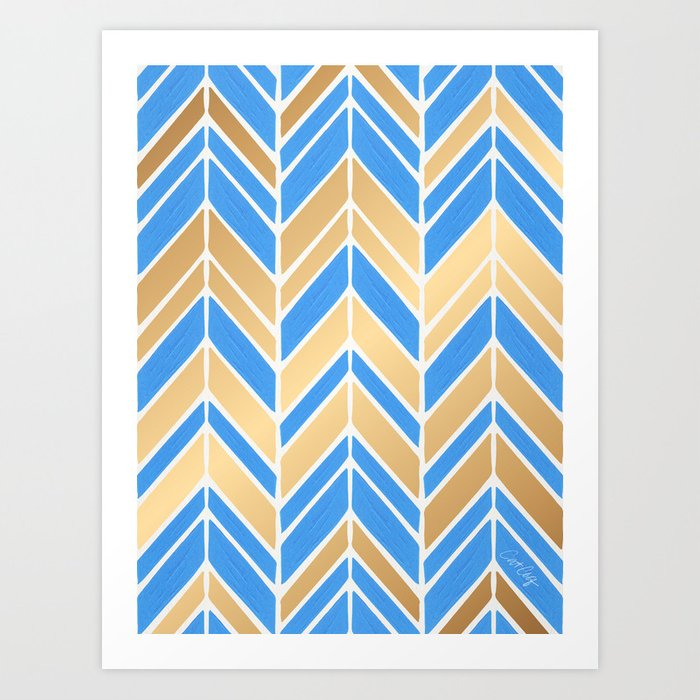 Intermittent Herringbone – Blue Gold Palette Art Print