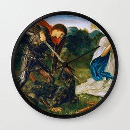 St George kills the dragon VI by Edward Burne-Jones. Wall Clock