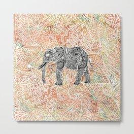 Tribal Paisley Elephant Colorful Henna Floral Pattern Metal Print