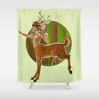louis tomlinson Shower Curtains featuring DeerCentaur!Louis by harryflowerchild