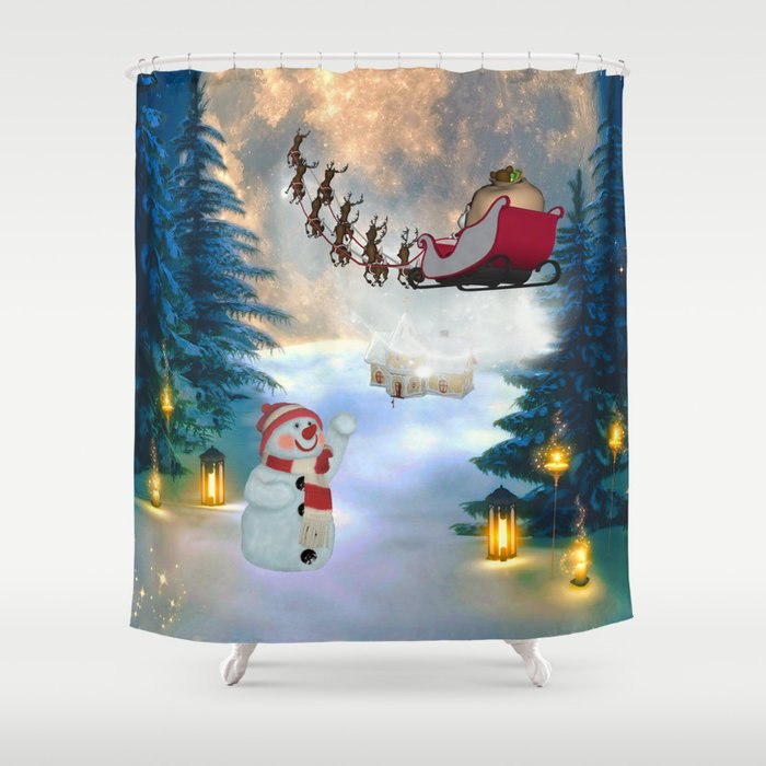 Christmas, snowman with Santa Claus Shower Curtain