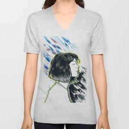 Girl Profil Drawing Unisex V-Neck