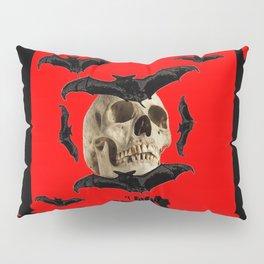 BAT INFESTED HAUNTED SKULL ON BLEEDING HALLOWEEN ART Pillow Sham