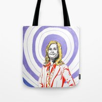 amy poehler Tote Bags featuring Amy Poehler by Rachel Hoffman