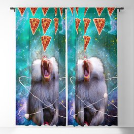 Space Galaxy Baboon Eating Pizza Blackout Curtain