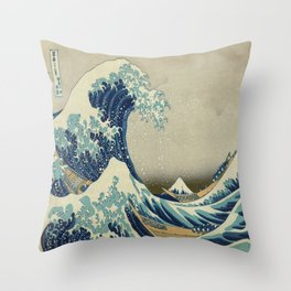 Vintage poster - The Great Wave Off Kanagawa Throw Pillow