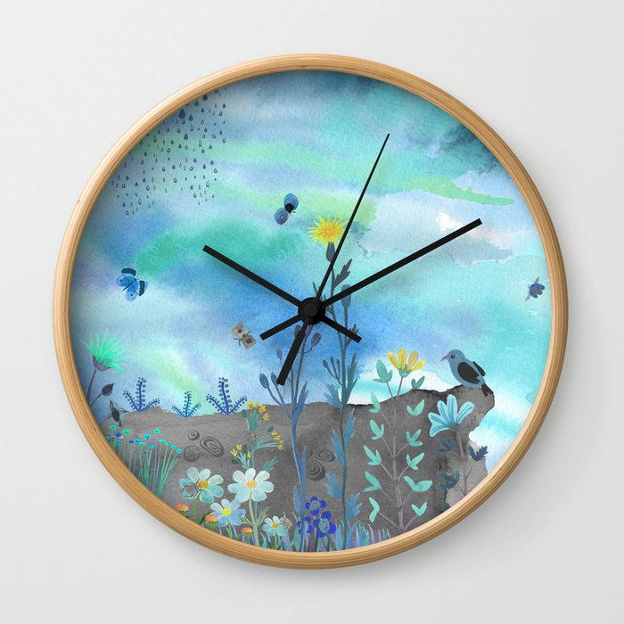Blue Garden I Wall Clock