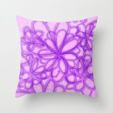 Fab Floral In Shades of Violet and Pink Throw Pillow