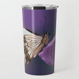 Pretty butterfly on pink flower Travel Mug